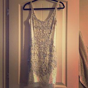 Dresses & Skirts - Adrianna Papell white beaded mini dress